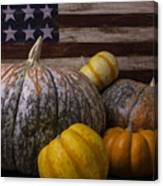 Folk Art Flag And Pumpkins Canvas Print