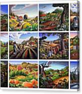 Folk Art Seasonal Seasons Sampler Greetings Rural Country Farm Collection Farms Landscape Scene Canvas Print
