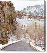 Follow The Red Rock Ridge Winter Road  Canvas Print