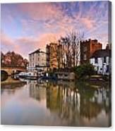 Folly Bridge In Oxford. Canvas Print