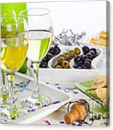 Food And Wine On A Buffet Table Canvas Print