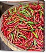 Food Market With Fresh Chili Peppers Canvas Print