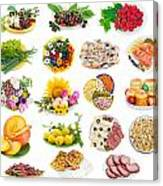Food On Plates Set Canvas Print