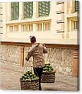 Food Vendor On Street Hanoi Vietnam Canvas Print