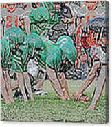 Football Playing Hard 3 Panel Composite Digital Art 01 Canvas Print