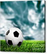 Football Soccer A Leather Ball On Grass Canvas Print