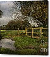 Footpath Bridge At Tidmarsh Berkshire Canvas Print