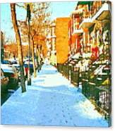 Footprints In The Snow Montreal Winter Street Scene Paintings Verdun Christmas  Memories  Canvas Print
