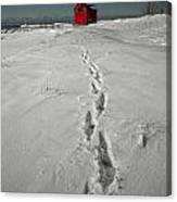 Footprints Leading From The Lighthouse Big Red During Winter Canvas Print