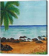 Footprints On Los Pinones Beach Pr Canvas Print