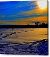 Footsteps On Lake Canvas Print