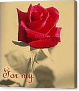 For My Love Vintage Valentine Greeting Card  Canvas Print