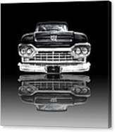 Ford F100 Truck Reflection On Black Canvas Print