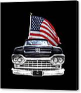 Ford F100 With U.s.flag On Black Canvas Print