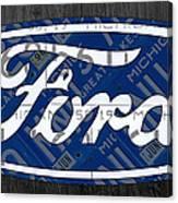 Ford Motor Company Retro Logo License Plate Art Canvas Print