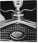Ford Winged Hood Ornament Black And White Canvas Print