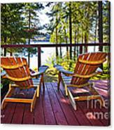 Forest Cottage Deck And Chairs Canvas Print