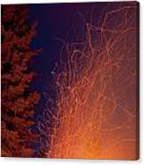 Forest Fire Danger Hot Spark Trails From Campfire Canvas Print