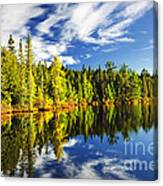 Forest Reflecting In Lake Canvas Print