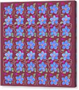 Forgetmenot Pattern On Marsala In Square Canvas Print