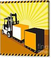 Forklift Truck Materials Handling Retro Canvas Print