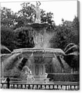 Forsyth Park Fountain - Black And White 2x3 Canvas Print