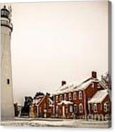 Fort Gratiot Lighthouse In Winter Canvas Print