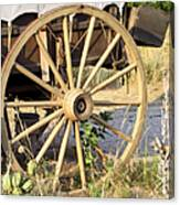 Fort Laramie Wy - Moving West On Wagon Wheels Canvas Print