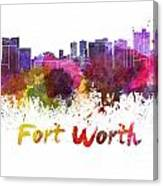 Fort Worth Skyline In Watercolor Canvas Print