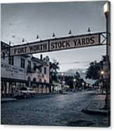 Fort Worth Stockyards Bw Canvas Print