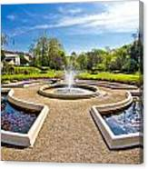 Fountain And Park In Zagreb Canvas Print