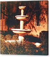 Church Fountain Night Shadows Canvas Print