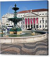 Fountain And Theater On Rossio Square In Lisbon Canvas Print