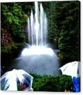 Fountain And Umbrellas Canvas Print