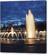 Fountain At Night World War II Memorial Washington Dc Canvas Print