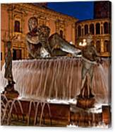 Fountain By Night Canvas Print