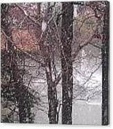 Fountain During Snowfall Canvas Print