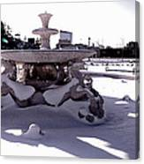 Fountain In The Snow Canvas Print
