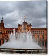 Fountain On Plaza De Espana. Seville Canvas Print