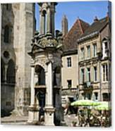 Fountain On The Market Place Autun Canvas Print