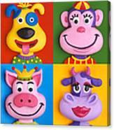 Four Animal Faces Canvas Print