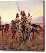 Four Mounted Indians Canvas Print