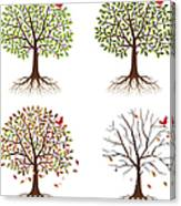 Four Seasons In One Tree Canvas Print