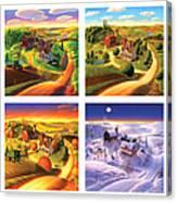 Four Seasons On The Farm Squared Canvas Print