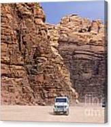 Four Wheel Drive Vehicles At Wadi Rum Jordan Canvas Print