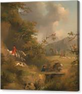 Fox Hunting In Hilly Country Canvas Print
