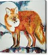 Fox In The Moon Canvas Print