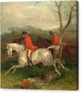 Foxhunting Coming To A Fence Full Cry Signed And Dated Canvas Print