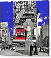 Fr. Duffy Statue Prior To Unveiling Coca Cola Sign Times Square New York City 1937-2014 Canvas Print