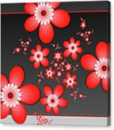 Fractal Cheerful Red Flowers Canvas Print